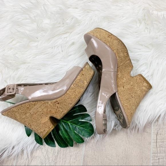 Fergalicious Shoes - Fergalicious Patent Leather Peep Toe Cork Platform